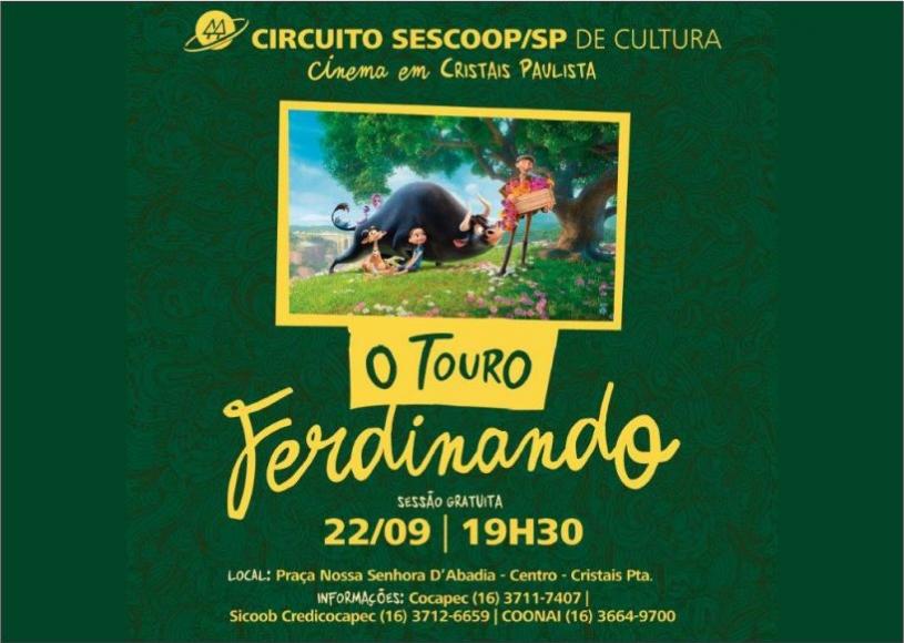 Circuito Sescoop/SP de Cultura leva cinema ao ar livre a Cristais Paulista